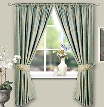 Curtains Ideas blue and gold curtains : BLUE & GOLD JACQUARD LINED CURTAINS 66 x 72