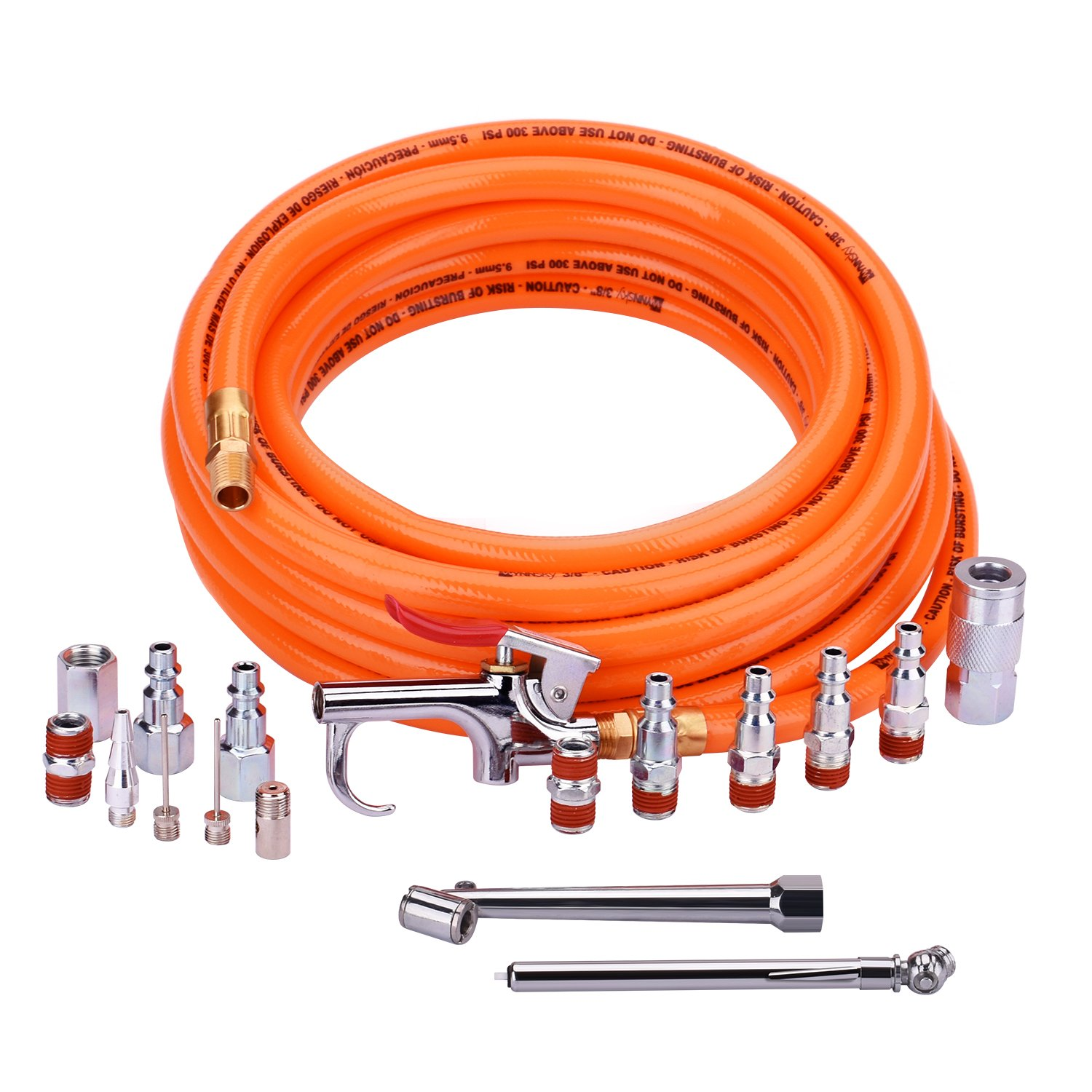 WYNNsky 3/8''X 25ft PVC Air Compressor Hose With 17 Piece Air Tool and Accessory Kit. Air Accessories Kit and Air Hose …