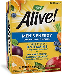 Nature's Way Nature's Alive Men's Energy Complete Multivitamin High Potency BVitamins Tablets, Natural, 50 Count