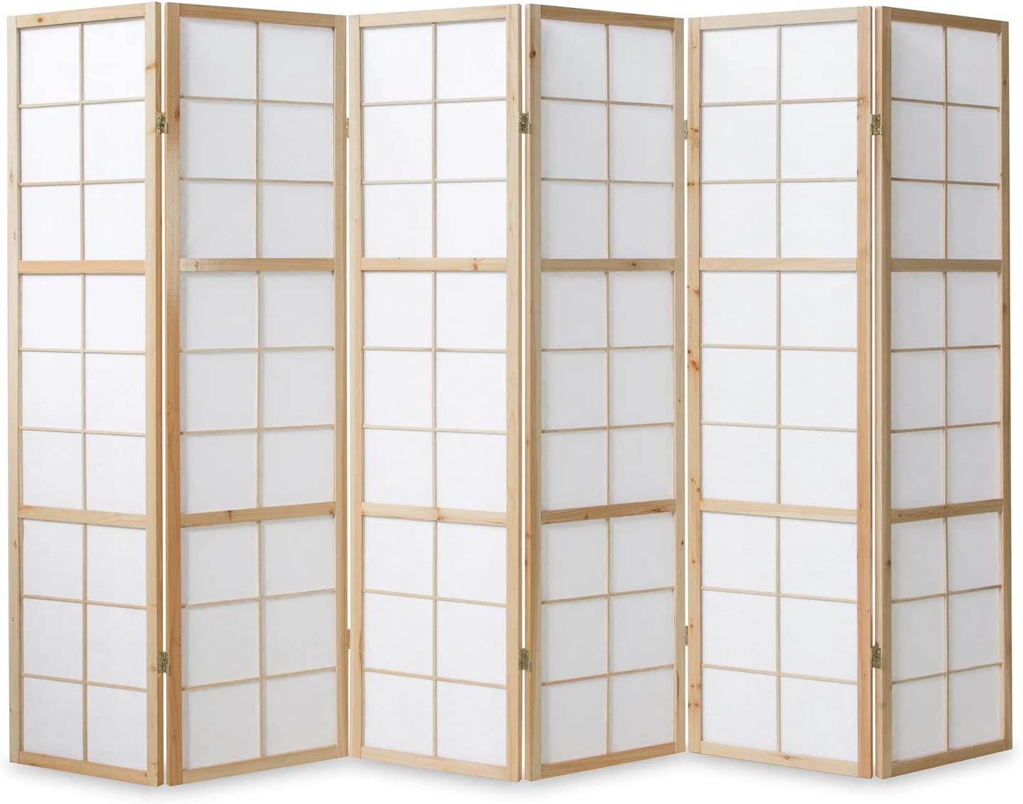 6tlg Paravents Raumteiler Shoji Trennwand in natur Sichtschutz Spanische Wand