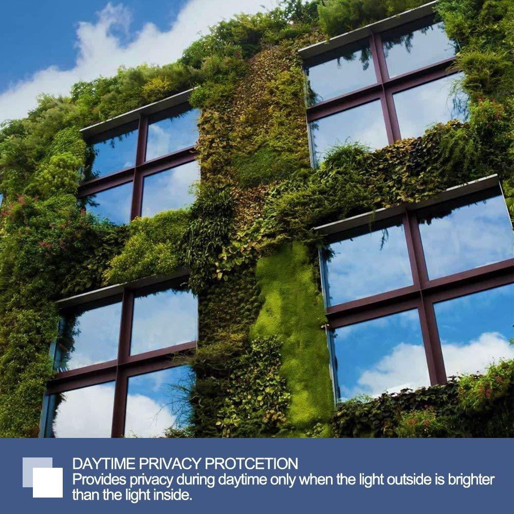 RABBITGOO One Way Window Film Anti UV Static Cling Window Film Removable Decorative Heat Control Privacy Glass Tint Home Office Windows(17.4'' x 78.7'',Sliver) by RABBITGOO (Image #1)