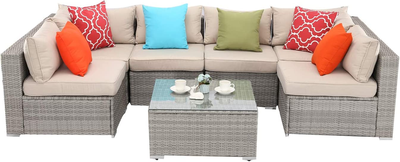 Do4U 7 Pieces Outdoor Patio Furniture Sectional Conversation Set, All-Weather Wicker Rattan Sofa Beige Seat Back Cushions 2423-Grey-7 Pieces