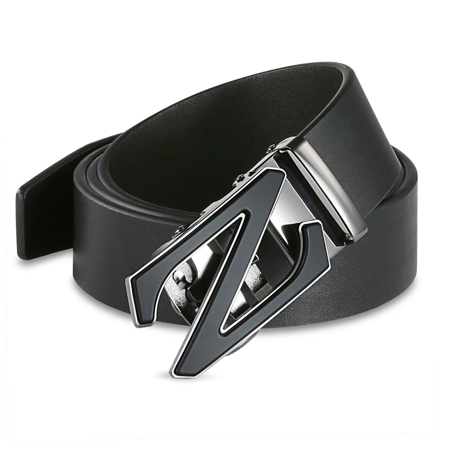 【New 2018 Version】28''-62'' Z Belts Black Leather Belts for Men with Removable Buckle Automatic Ratchet Belt by WAYMO (Image #6)
