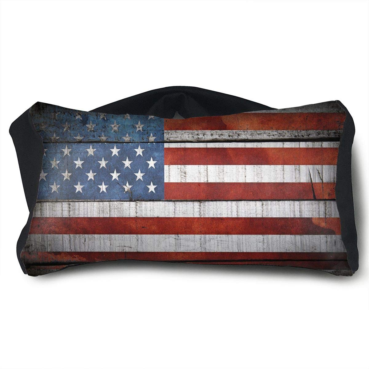 GLing-LIFE American USA Flag Wood Portable Voyage Pillow Travel Pillow and Eye Mask 2 in 1 Neck Head Support for Airplanes, Cars, Office Naps, Camping, Trains