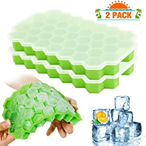 Ice Cube Trays with Lids, 2-Pack Ice Cubes Food Grade Full Silicone Silica Gel Flexible BPA Free 37 Honeycomb Ice Cube Molds for Chilled Drinks, Whiskey & Cocktails (Greenx2)