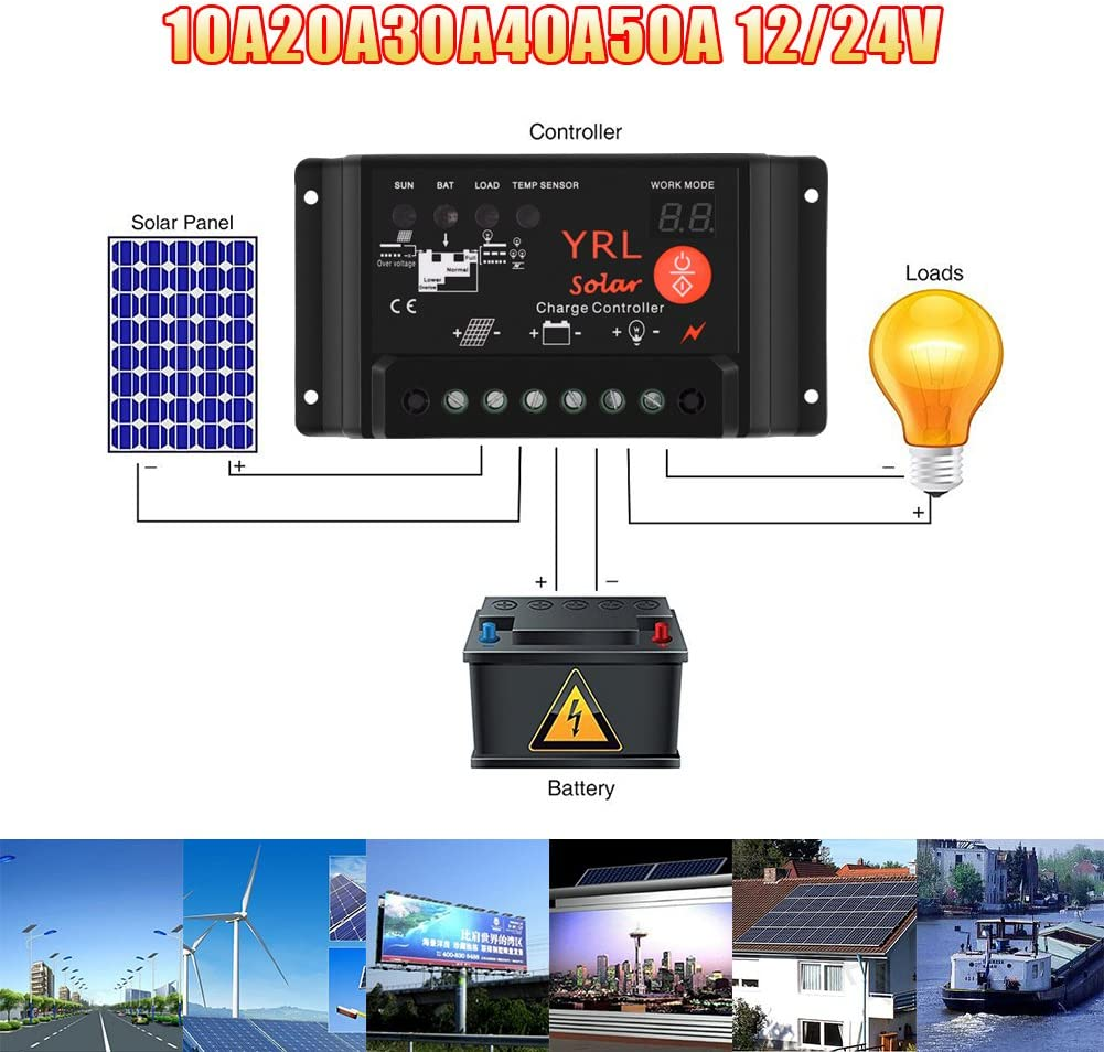 Waterproof Solar Charge Controller Anti-Lightning Intelligent Regulator Adapter 10A 12V// 24V 120W// 240W for Power Energy//Street Lighting System and Environment Monitor etc