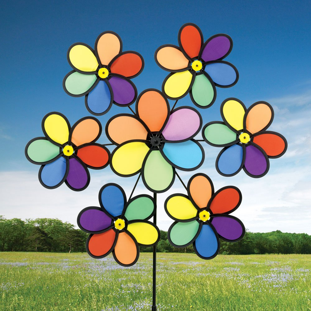 Bits and Pieces - 40'' Rainbow Daisy Nylon Wind Spinner - Captures Slightest Breeze - Colorful Outdoor Lawn and Garden Décor