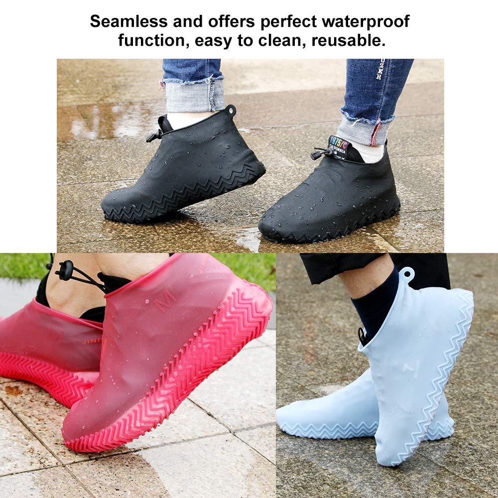 Leepesx 1 Paire de Chaussures de Pluie imperm/éables r/éutilisables Recouvre Le Silicone antid/érapant Pluie Botte de Neige Couvre-Chaussures Pliable S//M//L