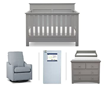 Serta Fall River 5 Piece Nursery Furniture Set (Serta Convertible Crib, 4