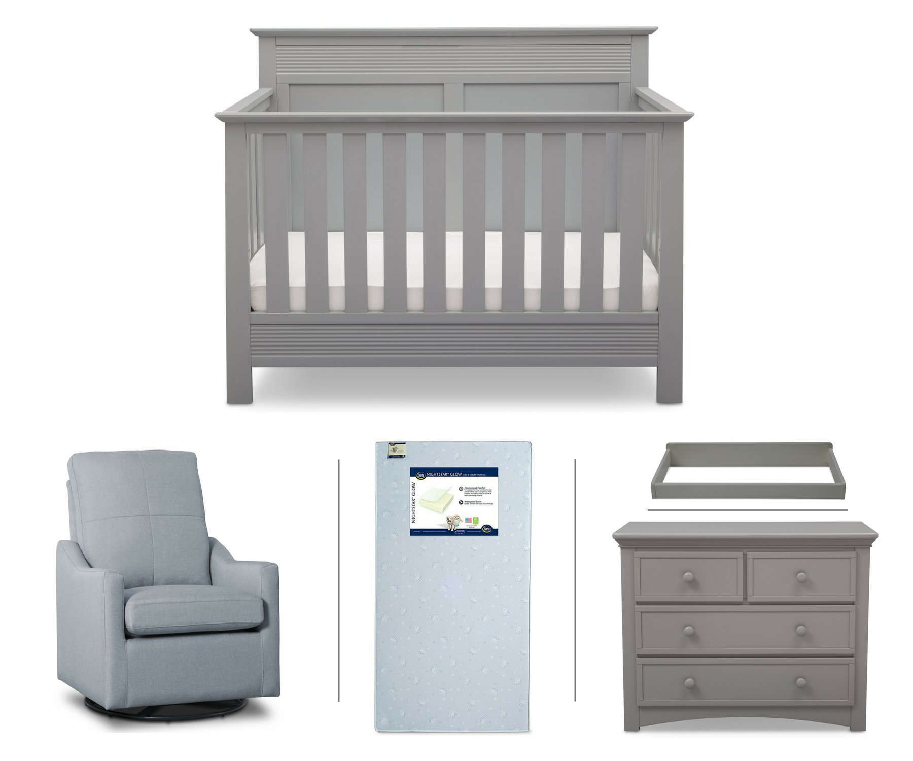 Serta Fall River 5-Piece Nursery Furniture Set (Serta Convertible Crib, 4-Drawer Dresser, Changing Top, Serta Crib Mattress, Glider), Grey/Light Blue