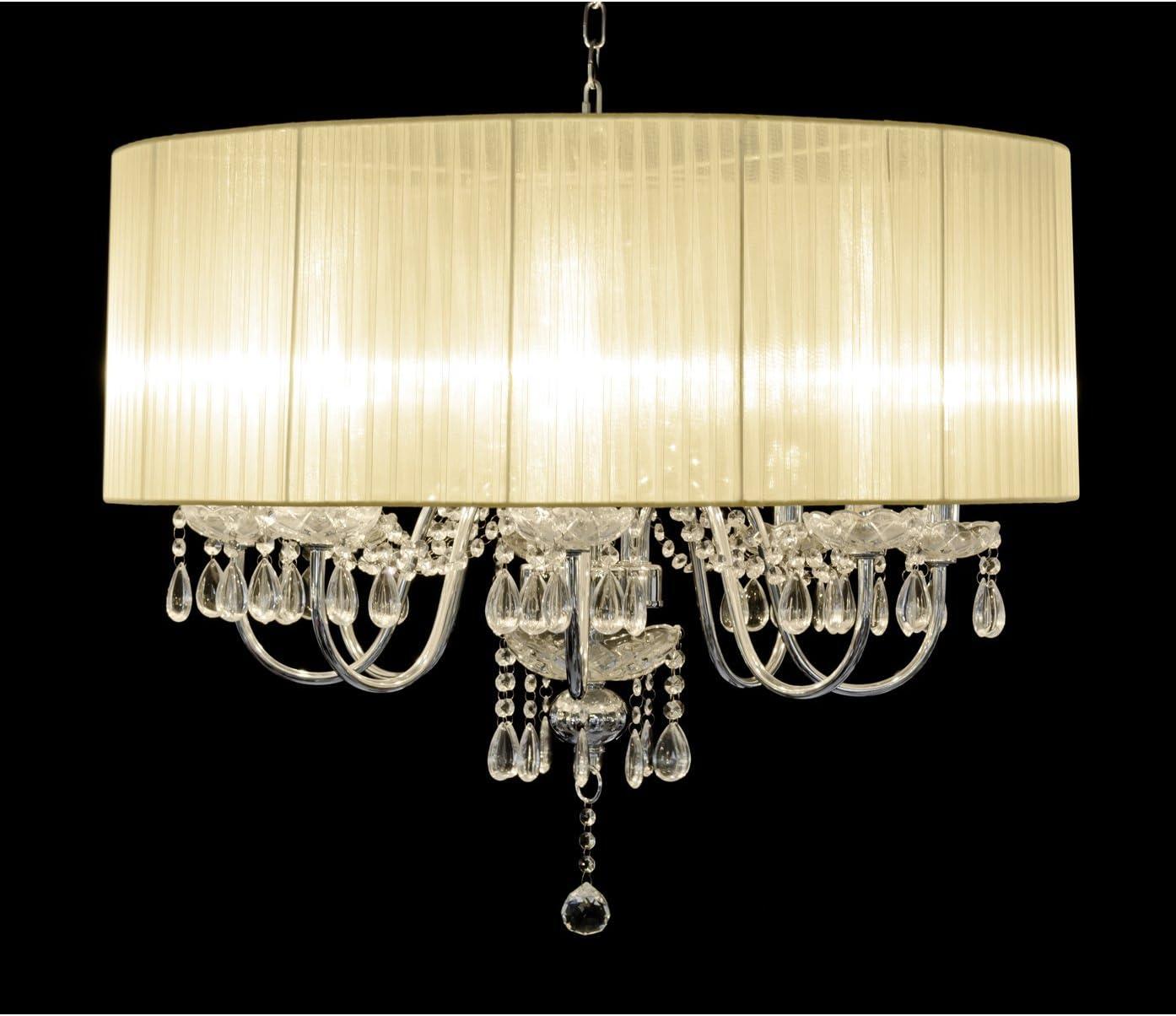 Beaumont 8 Light Chandelier, Glass, White: Amazon.co.uk