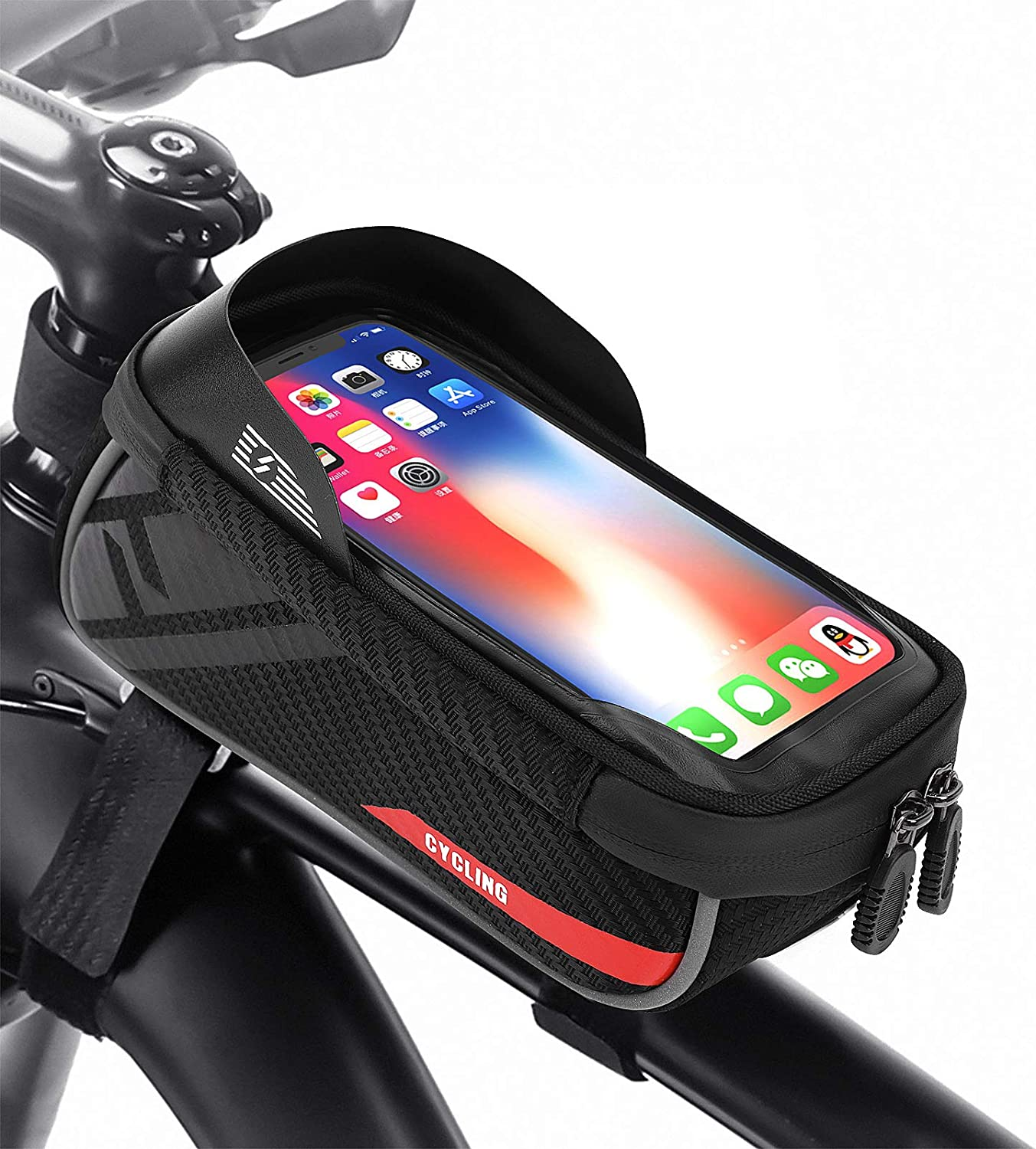 Foolerba Bike Frame Bag Bike Pouch Bag Waterproof Cycling Phone Mount Bag With Touch Screen Holder Case Bike Phone Bag Compatible With Iphone X Xs Max Xr 8 7 Plus Under 6 5inch Amazon Co Uk Sports