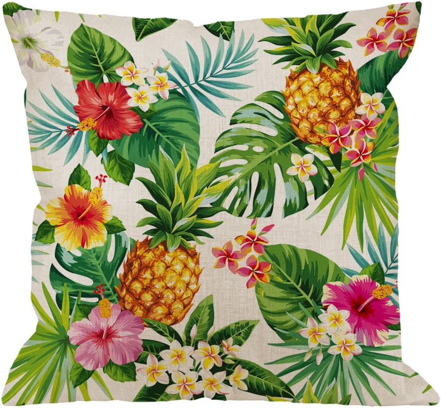 HGOD DESIGNS Pineapples Decorative Throw Pillow Cover Case Cotton Linen Outdoor Pillow Cases Square Standard Cushion Covers for Sofa Couch Bed 18x18 inch Green Yellow Pink