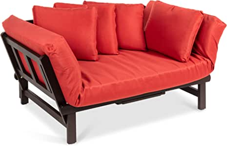 Best Choice Products Outdoor Convertible Acacia Wood Futon Sofa w/Pullout Tray, 4 Pillows, All-Weather Cushion - Red
