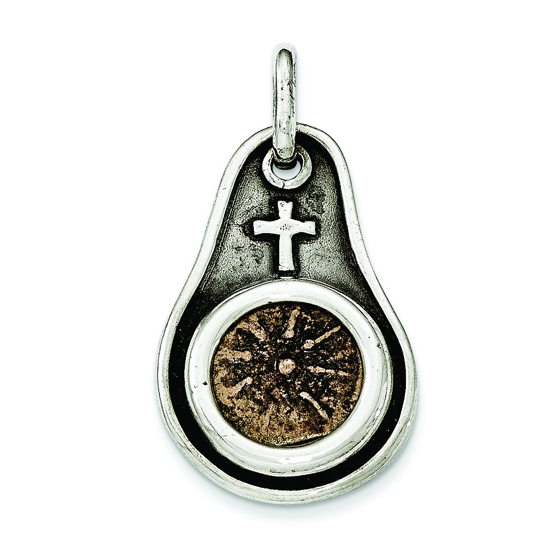 Sterling Silver Antiqued Widows Mite Coin Pendant