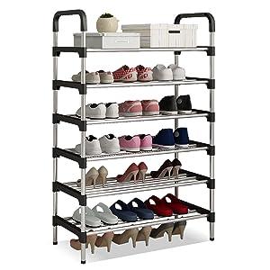 UDEAR Range Chaussures 6 Étages Organisateur de Rangement de Chaussures Noir