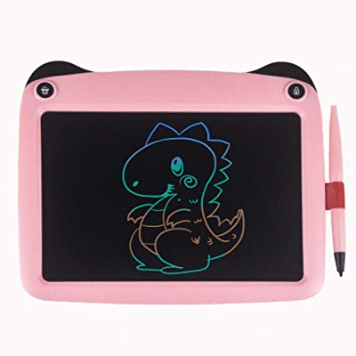 mom&myaboys Colorful LCD Writing Tablet for Kids Toys for 3-12 Years Old Girls, 9 inch Drawing and Writing Board with Lock Erase Button for School and Office(Pink-P): Office Products
