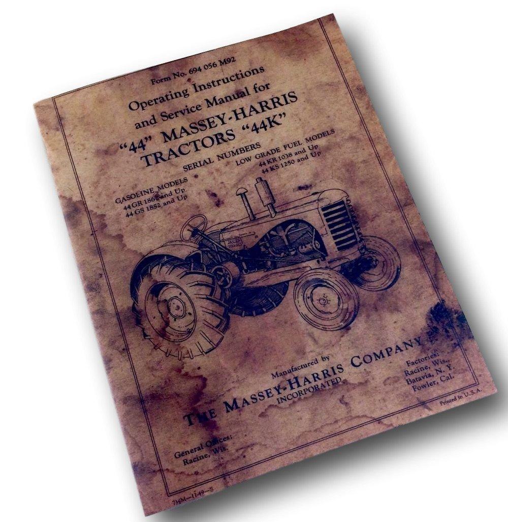 Amazon.com: Massey-Harris 44 44K Tractor Operators Operating Service Manual  Intructions: Industrial & Scientific