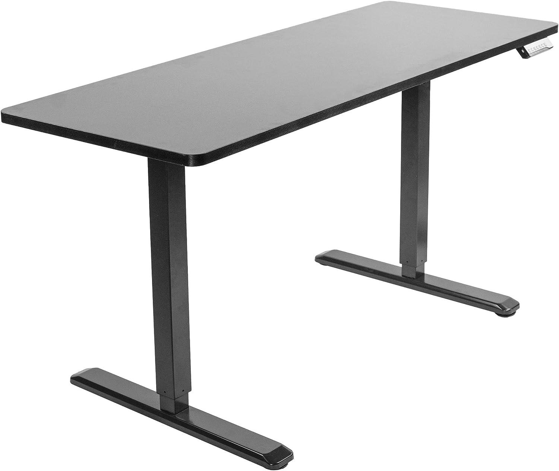 VIVO Electric 60 x 24 inch Stand Up Desk | Black Table Top, Black Frame, Height Adjustable Standing Workstation with Memory Preset Controller (DESK-KIT-1B6B)