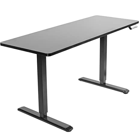 Vivo Electric 60 X 24 Inch Stand Up Desk Black Table Top Black Frame Height Adjustable Standing Workstation With Memory Preset Controller