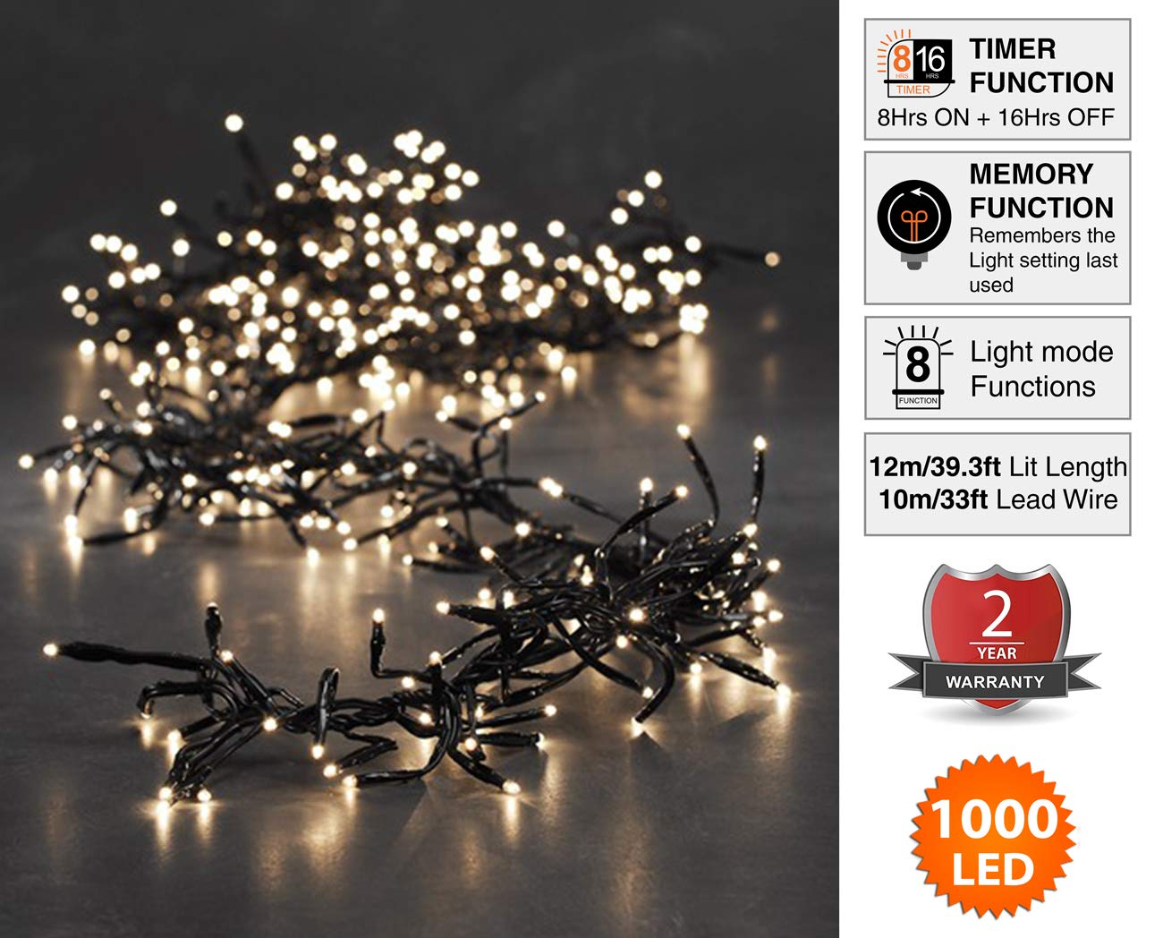 Cluster Lights 1000 Led Warm White Tree Indoor And Outdoor Valentine Chaser Use Christmas String 8 Modes With Memory Timer Function Mains Powered Fairy