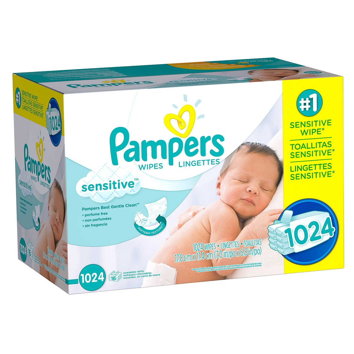 Pampers Sensitive Baby Wipes 1024 ct