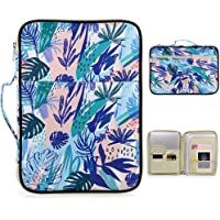 BTSKY New Multi-Functional A4 Document Bags Portfolio Organizer-Waterproof Travel Pouch Zippered Case for Ipads, Notebooks, Pens, Documents(Jungle Leaf)