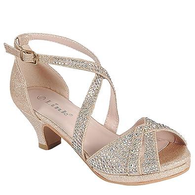 7e0ad23188a Link Fantastic-90K Girl s Rhinestone Criss Cross Ankle Strap Chunk Heel  Sandals