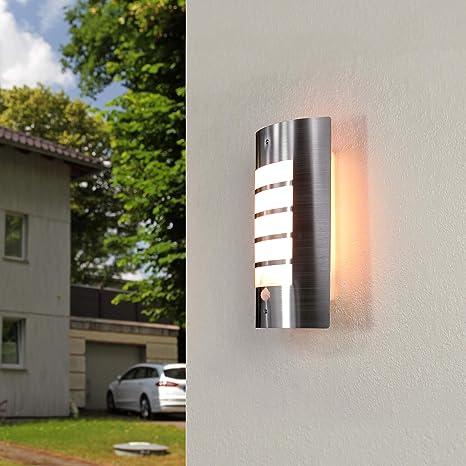 Moderne Wandlampe mit Bewegungsmelder IP44 Edelstahl ...