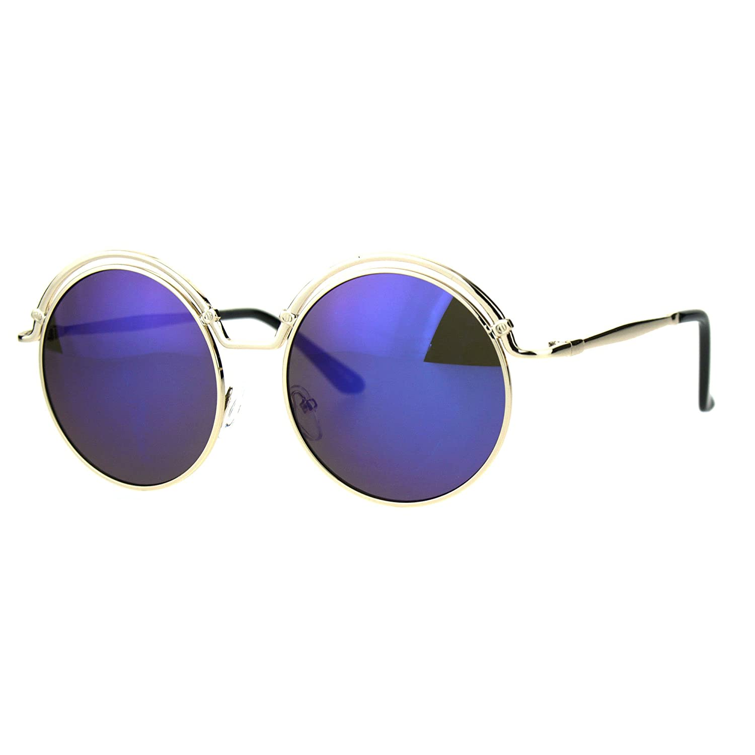 3e875052fcca Amazon.com  Round Circle Sunglasses Womens Metal Double Top Frame Gold