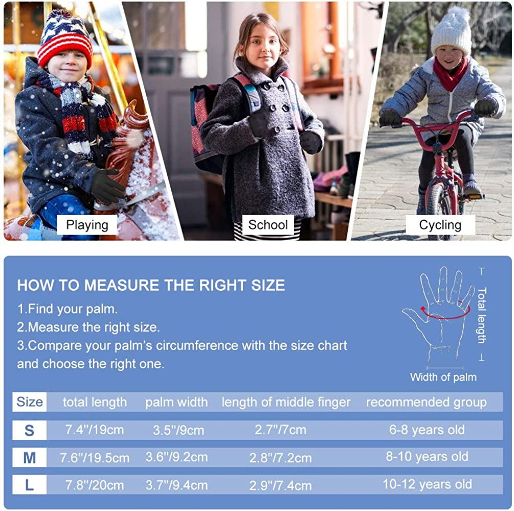 VBIGER Kids Winter Gloves Boys Girls Running Cycling Sports Gloves Anti-slip Warm Touch Screen Gloves: Clothing