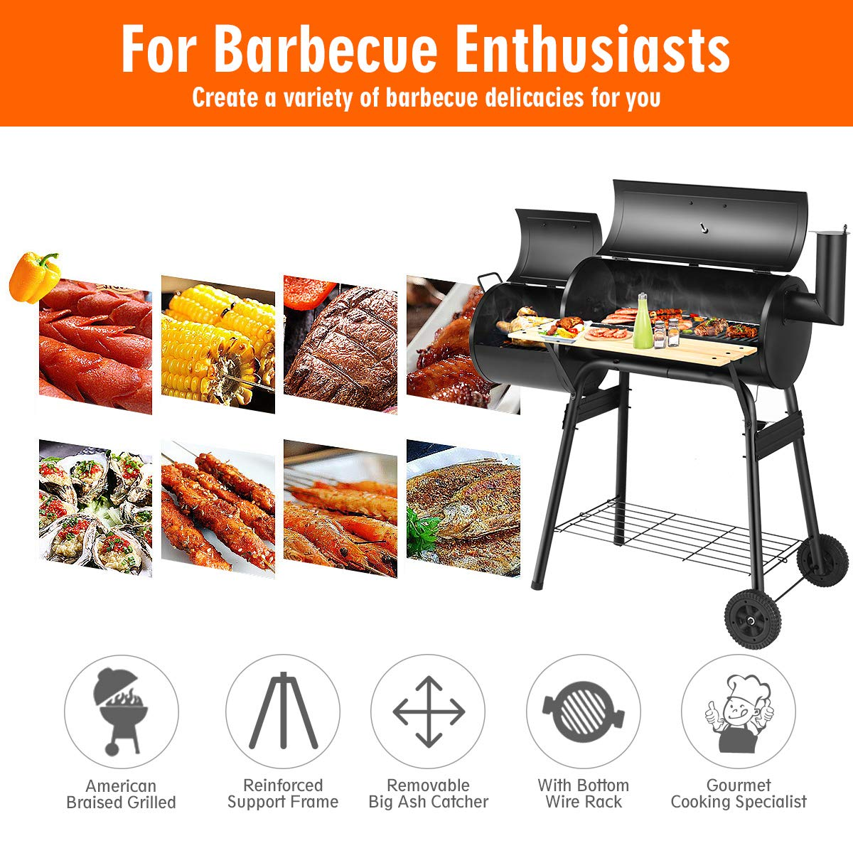 Giantex BBQ Grill Charcoal Barbecue Grill Outdoor Pit Patio Backyard Home Meat Cooker Smoker with Offset Smoker by Giantex (Image #7)