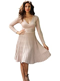 592bff75c0d81d Simplee Apparel Damen Kleid Retro Elegant Langarm V-Ausschnitt Plissee  Strickkleid Abendkleid Dress