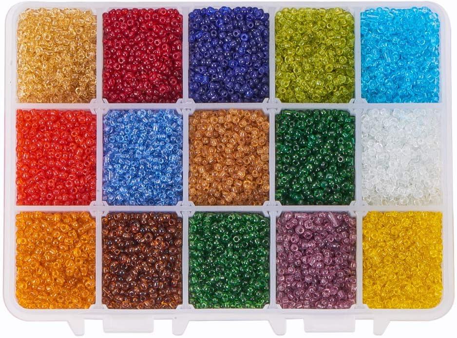 PandaHall 21000pcs 15 Cuentas de Semillas de Vidrio Transparente de Color 2mm Mini Cuentas con Caja de contenedor para Hacer Joyas