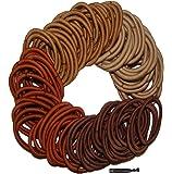 Kenz Laurenz 100 Hair Elastics Hair Ties No Crease Ouchless Ponytail Holders No Metal 4mm (100 Hair Elastics--Brown Ombre)