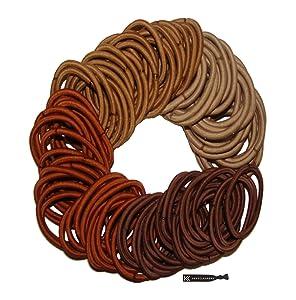 Kenz Laurenz 100 Hair Elastics Hair Ties No Crease Ouchless Ponytail Holders No Metal 4mm (100 Hair Elastics-Brown Ombre)