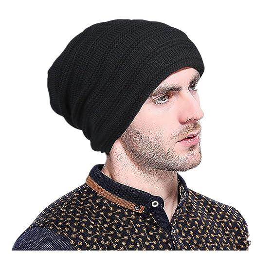 Showking Men Women WInter Knit Hedging Head Beanie Keep Warm Outdoor Hat ( Black) ed1d8c774ebe