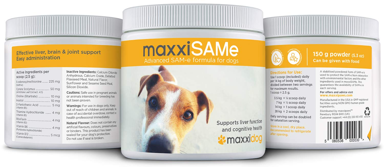 maxxidog - maxxiSAMe - Apoya La Salud del Hígado y La Función Cognitiva en Perros - SAM-e Suplemento Para Mascotas - Polvo 150 g - Se Puede Dar con ...