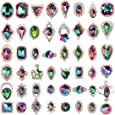 (48ps Large Silver Rhinestone Gems) - 48pcs Big Mix Sizes Different Shapes Colourful AB Iridescent 3D Crystals Diamonds Large Rhinestones Bow Silver Metal Charms Gems Stones for Nail Art Beauty Design Decoration Craft Jewellery DIY