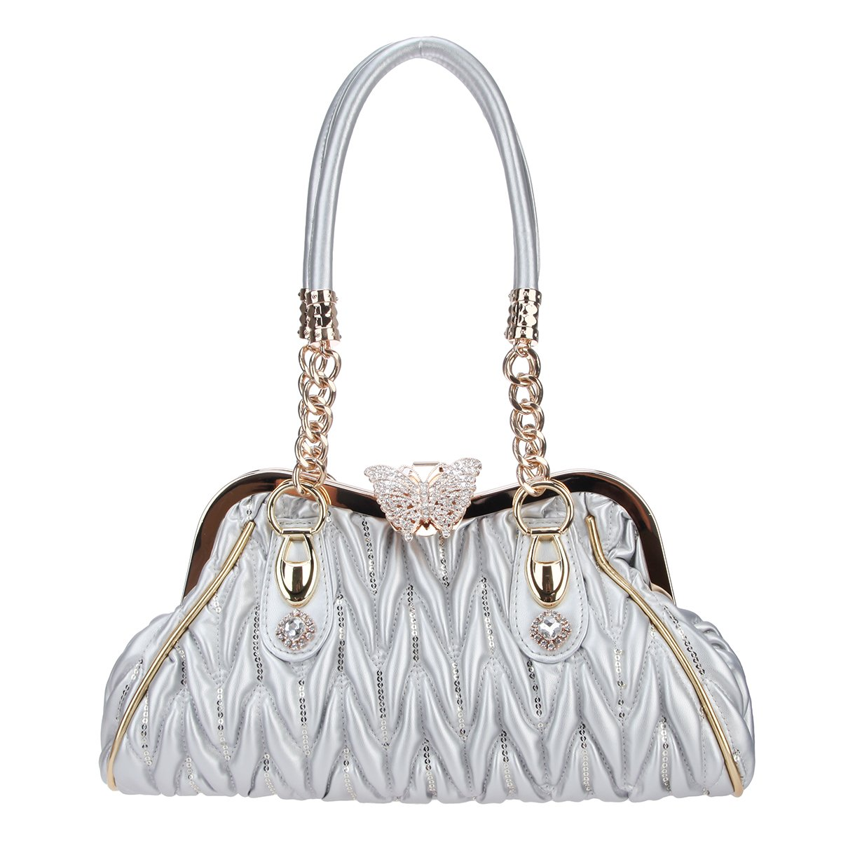 Fawziya Butterfly Shoulder Bags Crossover Bag For Women Handbags Pu Leather-Silver