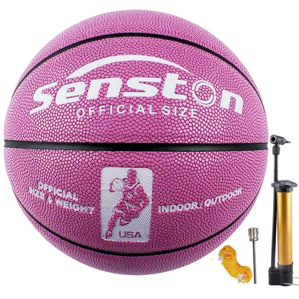 "Senston Women's Basketball Size 6, Glow in The Dark Basketball Ball for Girls Womens, Luminous Basketballs 28.5"" with Pump Pink"