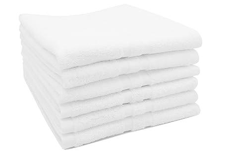 ZOLLNER 6 Toallas de Mano para Lavabo de algodón 100%, 50x70 cm, Blancas: Amazon.es: Hogar