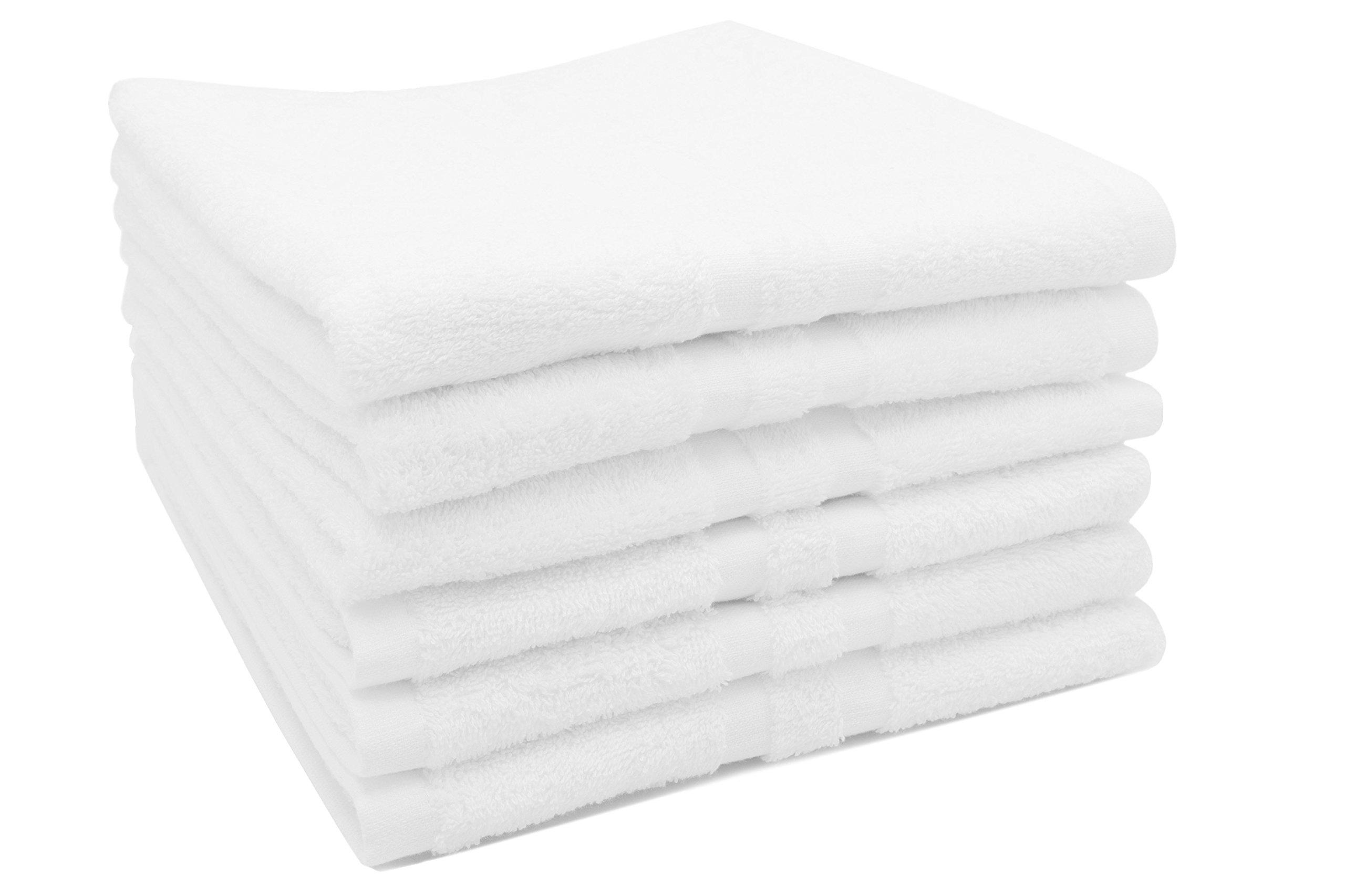 ZOLLNER 6 Toallas de Mano para Lavabo de algodón 100%, 50x70 cm, Blancas