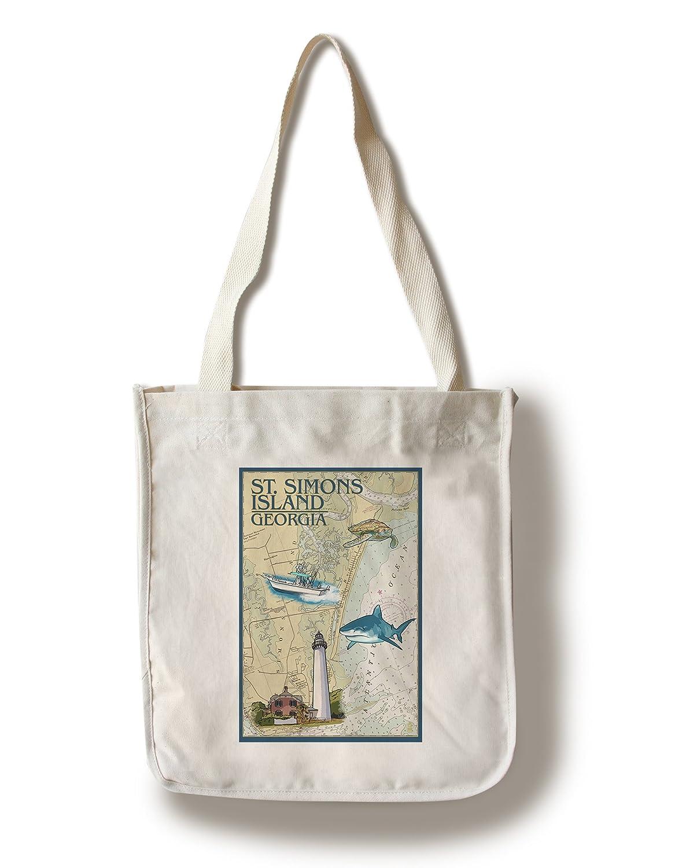 聖Simons島、ジョージア – Nautical Chart Canvas Tote Bag LANT-45584-TT B01841SHR4  Canvas Tote Bag