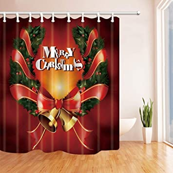 SZZWY Christmas Shower Curtains For Bathroom Golden Bells With Ribbon And Green Leaves Red Backdrop Polyester