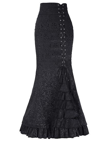 BININBOX Vintage Falda gótica de Sirena para Mujer Falda Larga con ...