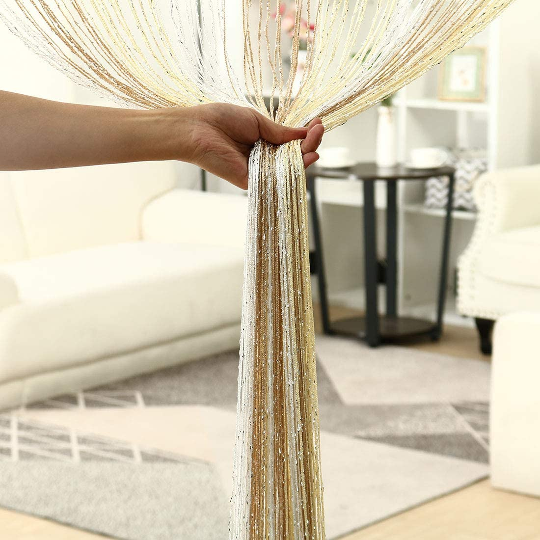 WH Thread Strip Backdrop Bedroom Door Window Divider for Wedding Hotel Decoration #11 uxcell String Curtain Fringe Panel 39 x 79