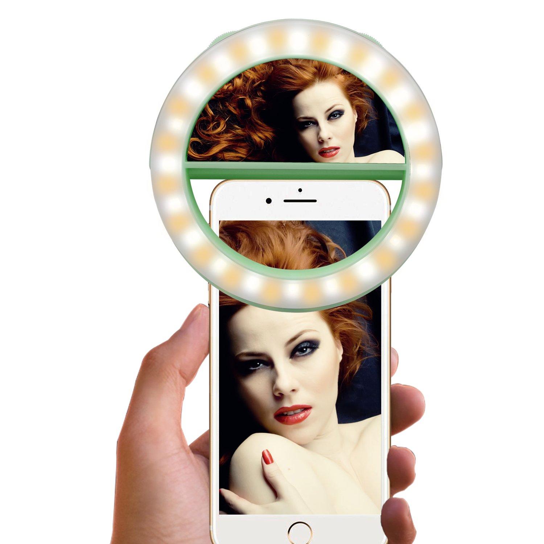 自撮りリングライトwith電話ホルダースタンドYoutube、Facebook、ライブのストリーミング、ポッドキャスト&メイクアップ、LEDカメラライト[ 3ライトモード& 10-level明るさ] Clamp On柔軟なグースネックLazyブラケットブラック グリーン RCSP00288J B01N5EL05X 13609 40 Leds Ring Light-Green 40 Leds Ring LightGreen