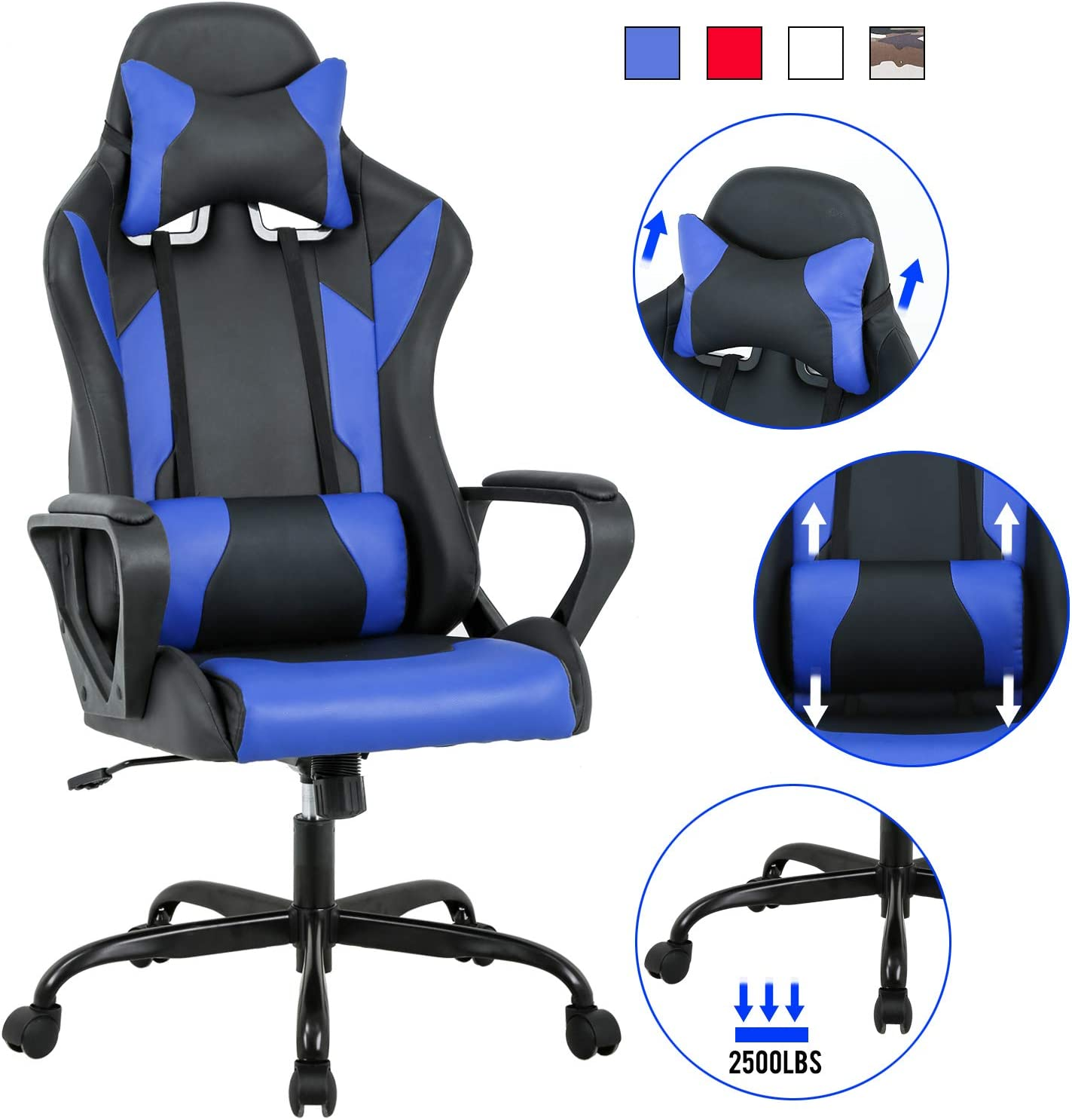 Amazon Com Computer Gaming Chair Pc Ergonomic Office Chair Home Executive Desk Chair Adjustable High Back Pu Leather Racing Chair Rolling Swivel Modern Task Chair With Lumbar Support Headrest Armrest Blue Kitchen Dining