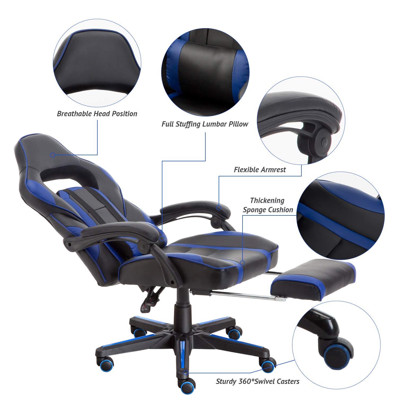 FAYEAN ergonomico del gioco corsa sedia girevole da scrivania in pelle PU con poggiapiedi estraibile reclinabile e cuscino lombare Blue